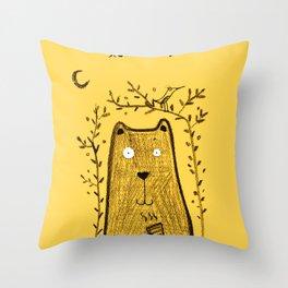 tea bear Throw Pillow