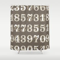 numbers Shower Curtains featuring Clarendon Numbers by Shawn Hazen