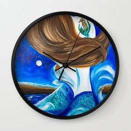 Mermaid Under Moon and Stars Wall Clock