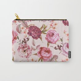 Blush Pink and Red Watercolor Floral Roses Carry-All Pouch