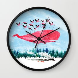 Flying Whale and steam train with Foxes Wall Clock