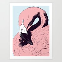 flamingo Art Prints featuring Flamingo by CranioDsgn
