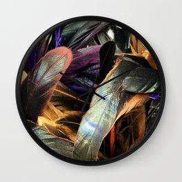 Exotic Feathers in Colorful, Resplendent Display Wall Clock