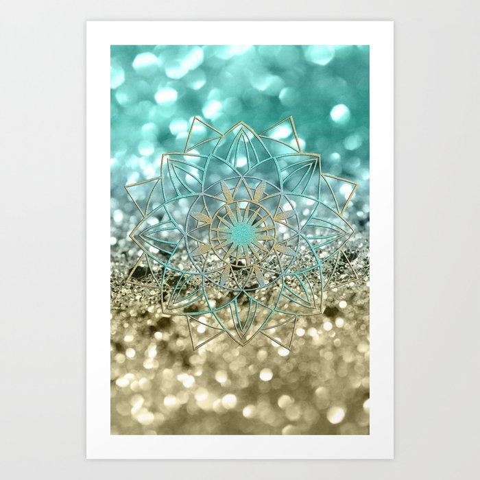 Star Mandala on Lemon Twist Beach Glitter #4 #shiny #decor #art #society6 Kunstdrucke