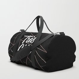 Tres Chic Black Geometric Marble Gold Triangles Duffle Bag