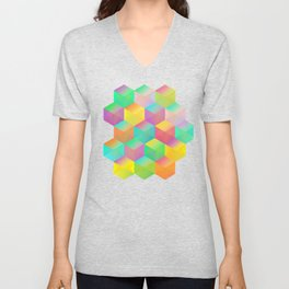Rainbow Cubes (Vibrant Transparent Hexagon) Unisex V-Neck