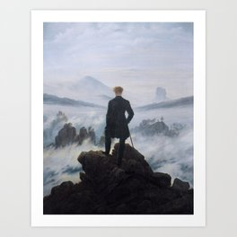 The wanderer above the sea of fog by Caspar David Friedrich Art Print
