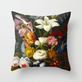 Victorian Bouquet by Severin Roesen Throw Pillow