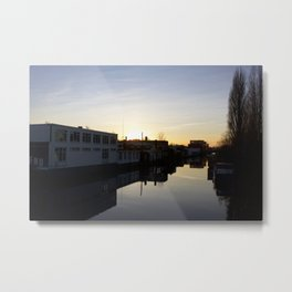 Sunset over an Amsterdam canal Metal Print