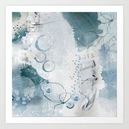 Abstract - Circulating - Richly Textured Design in Aqua Blue and Teal Art Print