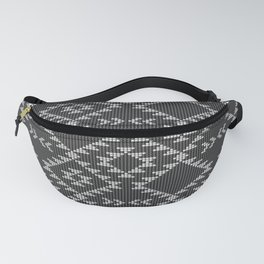 Southwestern textured navajo pattern in black & white Fanny Pack