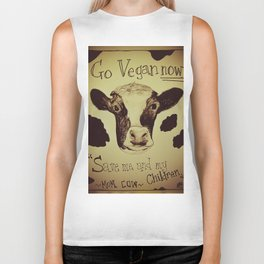 Go Vegan Now - Save Me And My Children Cow Mom Biker Tank