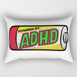 POWERED BY ADHD impulsivitiy hyperfocus impulse Rectangular Pillow