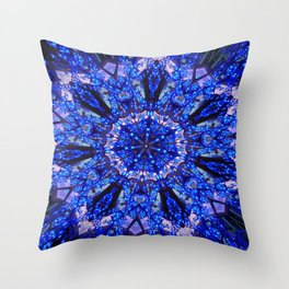 Blue Knight Starburst Mandala Throw Pillow