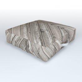 Herringbone Weathered Wood Texture Outdoor Floor Cushion