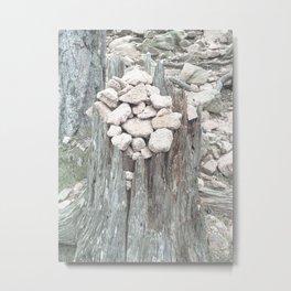 Stones on tree stump Metal Print