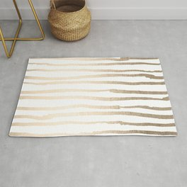 White Gold Sands Painted Lines Rug
