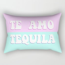 TE AMO TEQUILA pink and blue - Love Tequila Retro Sign Rectangular Pillow