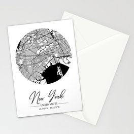 New York Area City Map, New York Circle City Maps Print, New York Black Water City Maps Stationery Cards