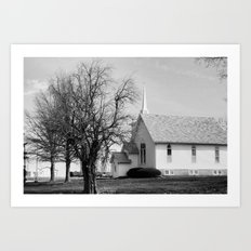 Country Church On Sunday. Art Print