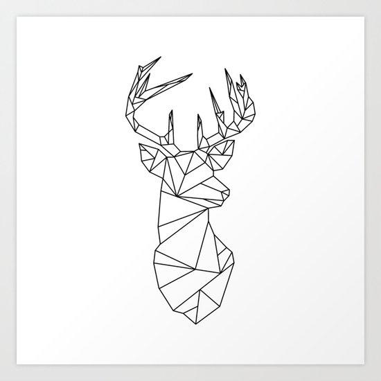 Geometric Stag (Black on White) Art Print