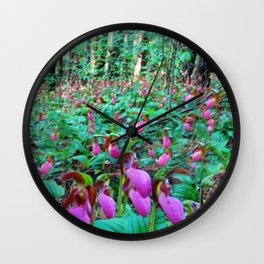 Wild Orchid Lady Slipper Forest - Scituate, Rhode Island Wall Clock