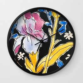 Iris Floral Wall Clock