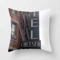 chelsea Throw Pillows featuring Chelsea by Leah Moloney Photo