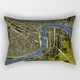 New Orleans Louisiana 1932 GREEN AND BLUE VINTAGE OLD MAP Rectangular Pillow