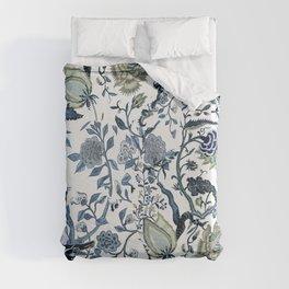 Blue vintage chinoiserie flora Duvet Cover