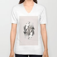 koi V-neck T-shirts featuring Koi by Heaven7