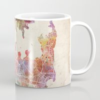 sydney Mugs featuring Sydney by MapMapMaps.Watercolors