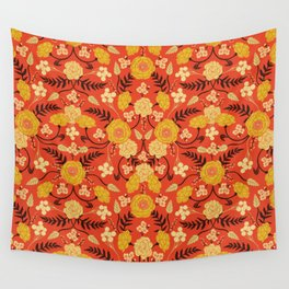 Vibrant Orange, Yellow & Brown Floral Pattern w/ Retro Colors Wall Tapestry