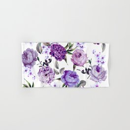 Elegant Girly Violet Lilac Purple Flowers Hand & Bath Towel