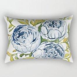 Blue Flowers Watercolor Rectangular Pillow