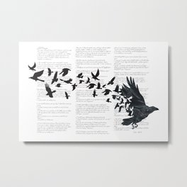 Vintage Style Print with Poem Text Edgar Alan Poe: Edgar Alan Crow Metal Print