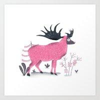 elk Art Prints featuring Elk by Rodrigo Fortes