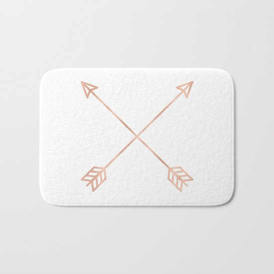Rose Gold Arrows on White Bath Mat