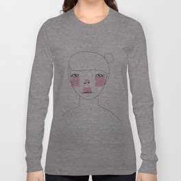 Line Drawing of Girl with Bun  Long Sleeve T-shirt