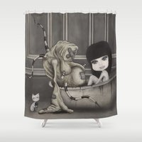 "dirty dancing Shower Curtains featuring ""Dirty"" by Wick Bennett"