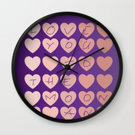 Love you to the moon and back | Colorful hearts design Wall Clock