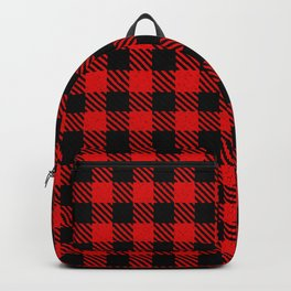 Red  Bison Plaid Backpack
