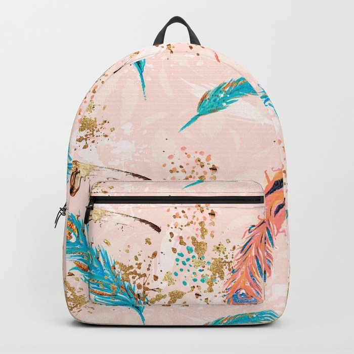 Feather peacock peach mint #5 Backpack