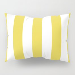 Sandstorm yellow - solid color - white vertical lines pattern Pillow Sham