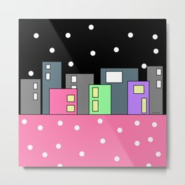 Buildings and Dots - Black Pink Metal Print