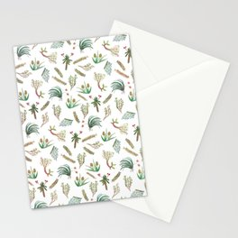 Kew Gardens Botanical Plants Pattern Watercolor White Stationery Cards