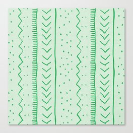 Moroccan Stripe in Green Canvas Print