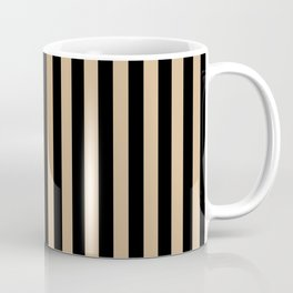 Tan Brown and Black Vertical Stripes Coffee Mug