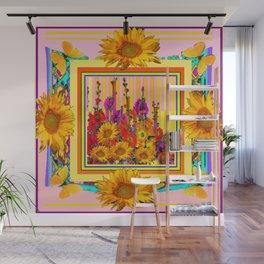 Pink Color Hollyhock Sunflowers Yellow Butterflies Wall Mural