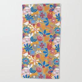 Blue Bell – Scandinavian folk art - all over floral Beach Towel